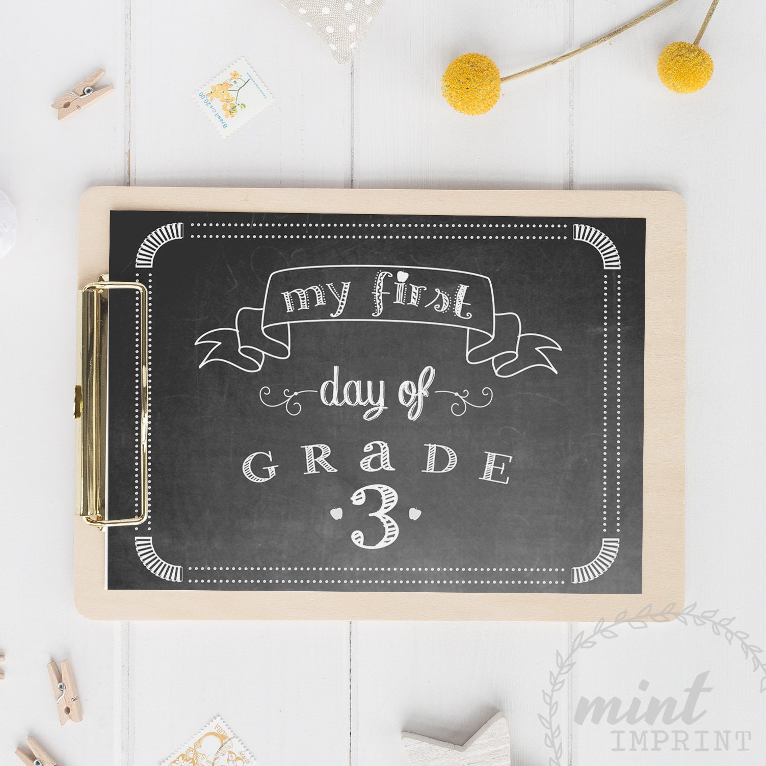 Grade 3 7 My First Day of School Sign Instant Download