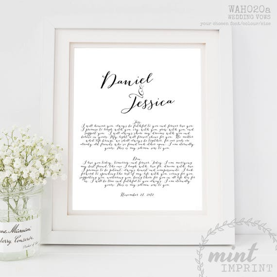 Wedding Vows Print 1st Anniversary Paper Gift For Husband