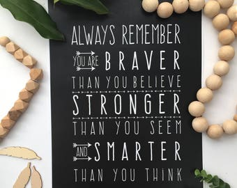 Always Remember You are Braver Than You Believe Wall Print / Monochrome Print / Inspirational Quote / Printable Instant Download 8x10 A3