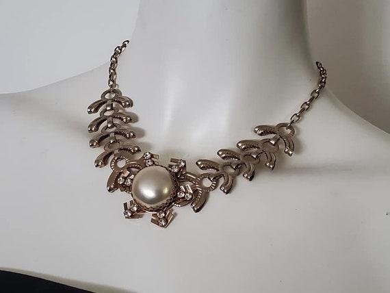 Rare 30's Pressed Metal Pearl Snowflake Necklace /