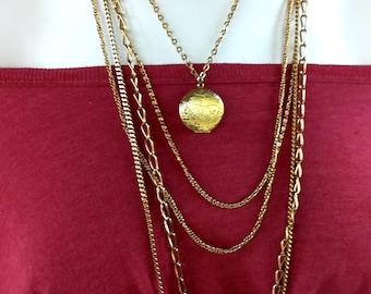 Vintage Multi Chain Locket, Gold tone Chains, 5 Strands