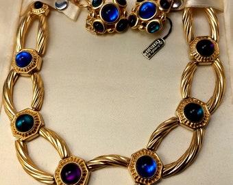 Trifari Gripoix Cabochon Moghul India, Jewels of India  Necklace and Earrings Set, Rare Trifari
