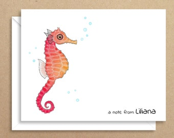 Seahorse Note Cards - Folded Note Cards - Personalized Children's Stationery - Thank You Notes - Illustrated Note Cards