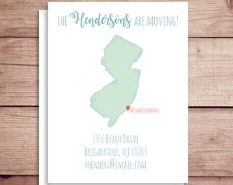 Moving Announcements - New Address Announcements - New Jersey Map Announcements - New Home - Map Moving Announcement