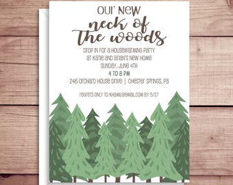 Housewarming Invitations - Open House - Our Neck of the Woods - New Home - Woods Moving Announcement