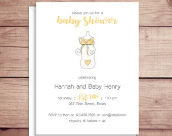Baby Shower Invitations - Baby Bottle Invitations - Yellow Bottle Invitations - Illustrated Invitations - Custom Invitations