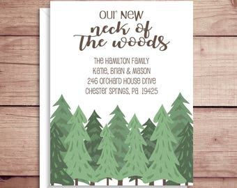 Moving Announcements - New Address Announcements - Our Neck of the Woods - New Home - Woods Moving Announcement