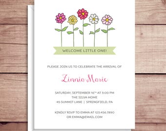 Baby Shower Invitations - Zinnia Invitations - Party Invitations - Zinnia Baby Shower Invitations - Custom Invitations