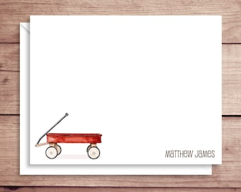 Wagon Note Cards - Wagon Flat Note Cards - Personalized Wagon Stationery - Wagon Thank You Notes - Illustrated Note Cards