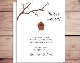 Moving Announcements - New Address  - Birdhouse Announcements - New Home - Birdhouse Moving Announcement - Housewarming Invitation