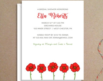 Bridal Shower Invitations - Poppy Shower Invitations - Poppy Party Invitations - Wedding Shower Invitations - Custom Invitations