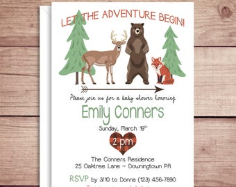 Wilderness Invitations - Baby Shower Invitations - Birthday Party Invitations - Illustrated Invitations - Custom Invitations