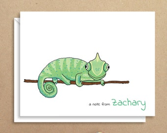 Chameleon Note Cards - Folded Note Cards - Personalized Stationery - Lizard Stationery - Thank You Notes - Illustrated Note Cards