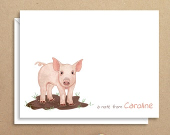 Pig Note Cards - Folded Note Cards - Personalized Stationery - Thank You Notes - Illustrated Note Cards