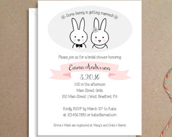 Bridal Shower Invitations - Bunny Invitations - Wedding Shower Invitations - Illustrated Party Invitations - Custom Invitations