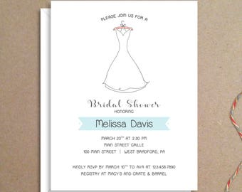 Bridal Shower Invitations - Wedding Gown Invitations - Party Invitations - Wedding Shower Invitations - Custom Invitations
