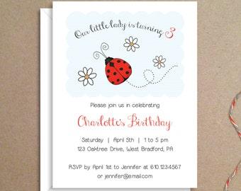 Party Invitations - Ladybug Invitations - Birthday Party Invitations - Illustrated Invitations - Custom Invitations