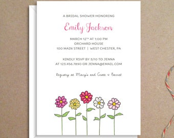 Bridal Shower Invitations - Zinnia Shower Invitations - Party Invitations - Wedding Shower Invitations - Custom Invitations