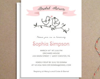 Bridal Shower Invitations - Lovebirds Invitations - Party Invitations - Wedding Shower Invitations - Custom Invitations