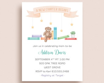 Book Baby Shower Invitations - Baby Shower Book Invitations - New Chapter Baby Shower Invitations - Gender Neutral Baby Shower