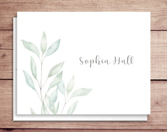 Soft Greenery Note Cards - Soft Leaves Note Cards - Folded Greenery Note Cards - Personalized Greenery Stationery - Greenery Thank You Notes