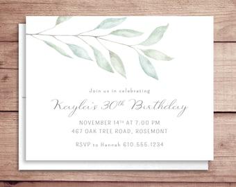 Soft Greenery Birthday Invitations - Soft Leaves Birthday Invitations - Surprise Party Invitations - Adult Birthday Invitations