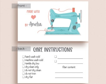 Sewing Care Info Cards - Sewing Gift Tags - Sewing Care Tags - Quilt Care Tags - Quilt Care Instructions - Quilter Tags - Sewing Machine Tag