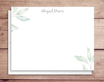 Soft Greenery Note Cards - Soft Leaves Flat Notes - Greenery Thank You Cards - Greenery Note Cards - Delicate Leaves Stationery