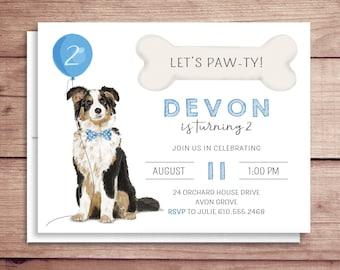 Dog Birthday Invitations - Puppy Party Invitations - Kids Dog Themed Birthday Invitations - Australian Shepherd Birthday Invitations