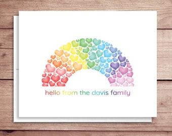 Heart Rainbow Note Cards - Folded Rainbow Heart Note Cards - Personalized Heart Stationery - Rainbow Stationery - Rainbow of Hearts Notes