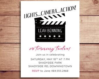 Movie Clapper Invitation - Movie Clapboard Invitation - Movie Night Birthday Party Invitations - Movie Party Invite - Film Clapper Invite