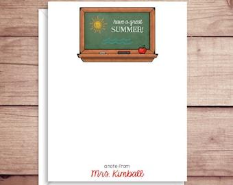 Teacher Flat Note Cards - Chalkboard Fill-In Flat Notes - Teacher Flat Thank You Cards- Teacher Summer Note Cards - Teacher Note Cards