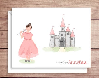 Princess and Castle Note Cards - Princess Folded Note Cards - Princess Stationery - Princess Thank You Notes - Castle Note Cards