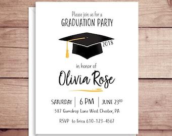 Graduation Party Invitations - Grad Invitations - High School Grad Invitations - College Grad Invitations - Custom Invitations