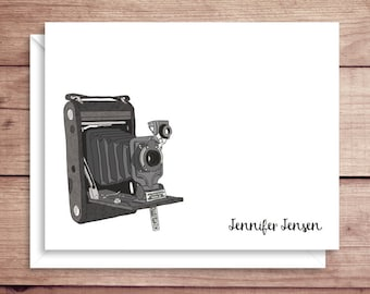 Camera Note Cards - Folded Note Cards - Vintage Camera Stationery - Camera Thank You Notes - Vintage Camera Note Cards