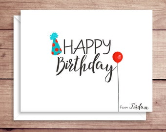 Happy Birthday Note Cards - Folded Birthday Note Cards - Balloon Notes - Party Hat Notes - Birthday Note Cards