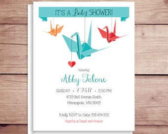 Baby Shower Invitations - Origami Crane Invitations - Origami Party Invitations - Origami Invitations - Custom Invitations