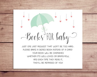 Books for Baby Card - Books for Baby Insert - Baby Shower Book Cards - Baby Shower Insert - Baby Shower Coordinating Card