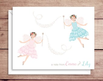 Twin Fairy Note Cards - Twin Fairy Princess Folded Note Cards - Twin Fairy Stationery - Twin Girls Thank You Notes - Garden Fairy Note Cards