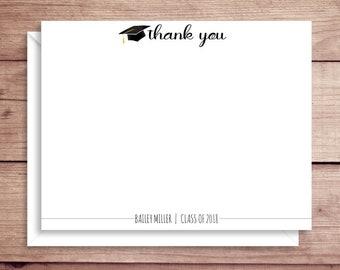 Grad Note Cards - Grad Flat Note Cards - Grad Thank You Cards- Grad Stationery - Graduation Thank You Cards - Grad Thank You Notes