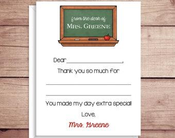 Teacher Flat Note Cards - Chalkboard Fill-In Flat Notes - Flat Fill-In Thank You Cards- Illustrated Note Cards - Teacher Note Cards