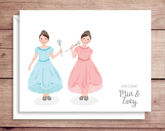 Twin Princesses Note Cards - Princess Folded Note Cards - Twin Princess Stationery - Twin Princesses Thank You Notes - Twin Girls Note Cards