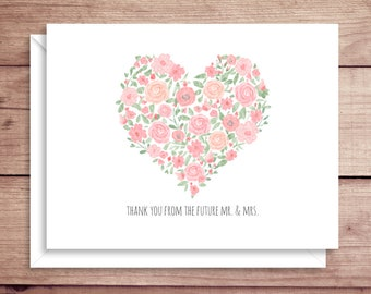 Rose Heart Note Cards - Bridal Folded Note Cards - Bridal Stationery - Bridal Shower Thank You Notes - Floral Note Cards