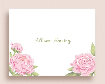 Peony Note Cards Personalized Peony Thank You Notes Floral Note Cards Floral Thank You Notes Folded Note Cards Peony Stationery