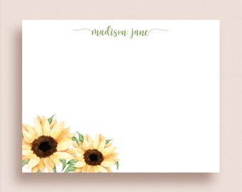 set of 12 Rustic Mini Sunflower Note Cards 3x3