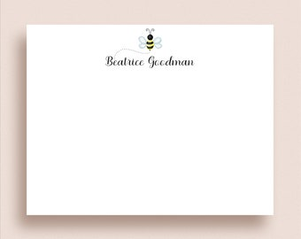 Little Bee Note Cards Bee Stationery Bumblebee Thank You Cards Flat Note Cards Bee Note Cards Personalized Bee Notes