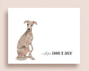 Greyhound Note Cards - Flat or Folded Dog Note Cards - Greyhound Stationery - Whippet Stationery - Dog Thank You Notes
