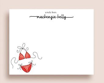 Bikini Note Cards - Flat Note Cards - Bikini Thank You Notes - Personalized Bikini Stationery - Polka Dot Bikini Note Cards