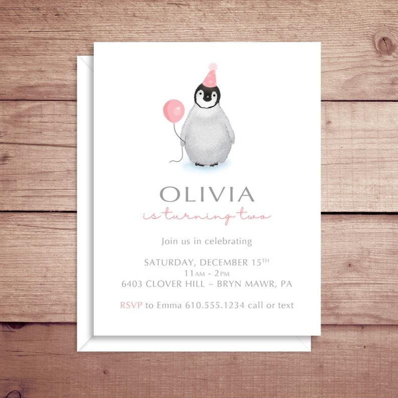 Penguin Invitations Penguin Birthday Invitations Penguin Etsy