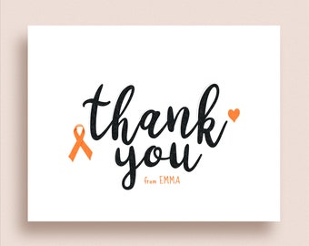 Cancer Note Cards - Any Color Ribbon - Cancer Support Thank You Notes - Folded Notes - Cancer Ribbon Note Cards - Cancer Thank You Notes